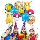 Pokemon Globos Set - Globo Pokémon Balloons, Foil Balloons, Decoración de fiesta de cumpleaños infantil(10)
