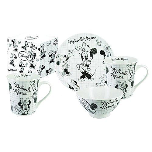 CARBOMBONIERE \'Car Bomboniere Walt Disney Sketch Juego 3Piezas, Porcelana, Negro/Blanco, 19.5x 24x 11cm