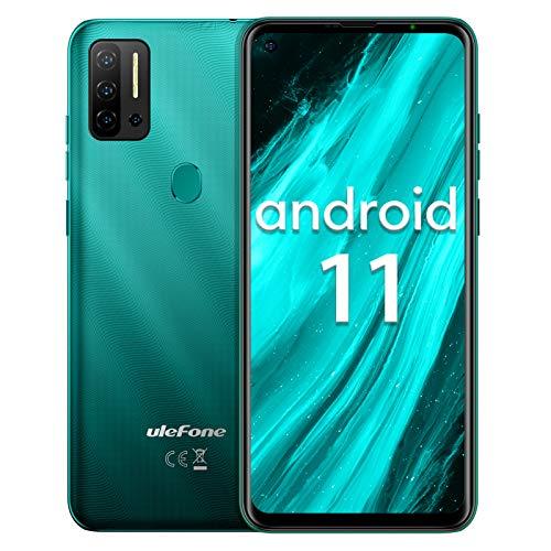 "Smartphone ohne vertrag Helio P60 Octa-Core, Ulefone Note 11P Android 11 Handy 6,55"", 8GB+128GB, 4400mAh, 48MP+8MP Kamera+2MP Kamera, 3-Karten-Steckplatz, Fingerabdruck, 4G Dual SIM (Grün)"