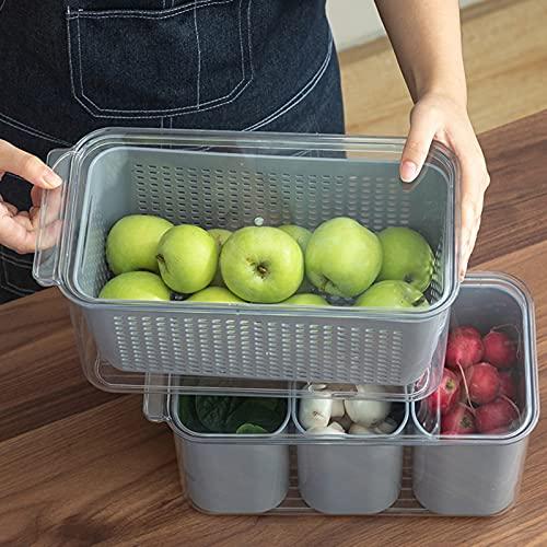 Caja de almacenamiento de la cocina de la cocina de la fruta vegetal recipientes de almacenamiento Frigorífico Drip Cesto Saver refrigerador Almacenamiento Cesta de almacenamiento