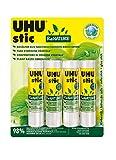 UHU Stic Renature - Pegamento ecológico y sin disolventes en un paquete de materias primas renovables (4 x 21 g)