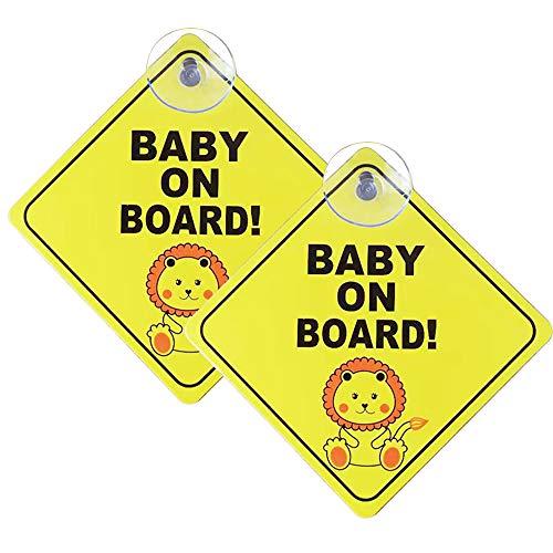 Lanero Baby on Board Schild für Auto, 2 Stück, Kinder-Sicherheitswarnung mit Saugnäpfen