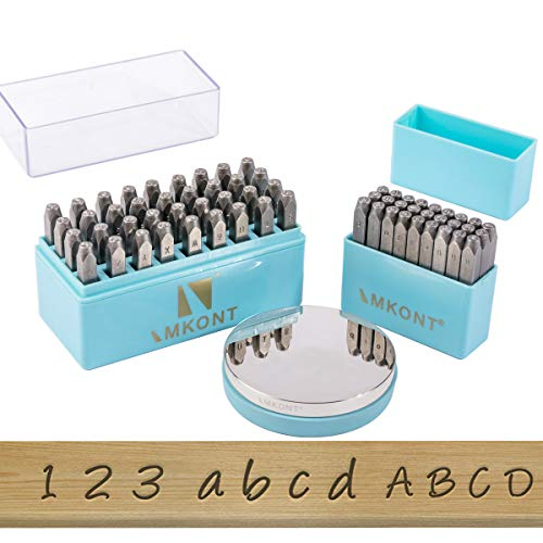 Imkont 1/8inch 3mm Number and Letter Metal Stamp 63pcs with Metal Bench Block Set (A-Z & a-z &0-9 & Metal Bench Block & Stamp Jig)