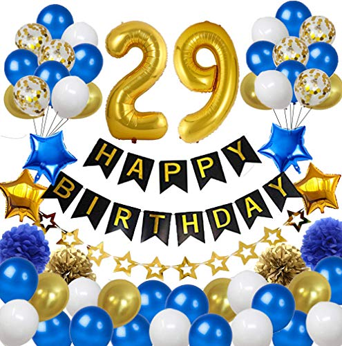 Colorpartyland Blue and Gold Birthday Decorations Set-Black Happy Birthday Banner Latex and Confetti Balloons Paper Honeycomb Balls Huge Number 29 Balloons for Men and Women 29nd Birthday