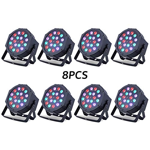 LED UP Lights, Nurxiovo Par Lights 18x1W DMX Stage Lights LED RGB Lighting with Sound Control 24W 7 Channel for DJ, Party, Church, Wedding Clubs, Lighting, 8 Pack