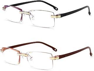 Fulision 2 Pack Frameless Reading Glasses Unisex Rectangle Eyeglasses