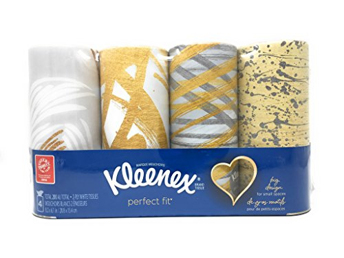 Kleenex Facial Tissues Perfect Fit Package of 4 Decorator Designs - Gold