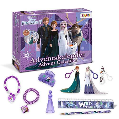 CRAZE 24652 Adventskalender Frozen II Weihnachtskalender Eiskönigin Eisprinzessin für Mädchen Spielzeugkalender, kreative Inhalte, Tolle Überraschungen