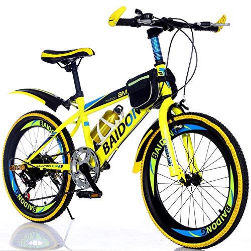 Mountain Student Bike, 20 Inch 22 Inch Fiets, High Carbon Steel Shift Schijfremmen, Primary School Children's Bicycle,Yellow,20inch