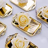 Efavormart 12 Pack - 4' Gold Rectangular Mini Candy Display Tray Favors for Wedding, Bridal Shower, Baby Shower, Birthday, Candy Jars Decorations