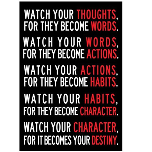 Remiel Store Watch Your Thoughts Motivational Poster 13 X 19inch (13x19 Inch, Black)