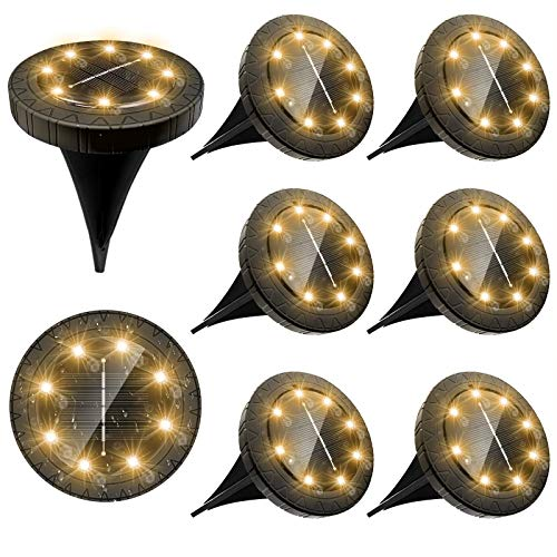 Luce Solari Giardino Esterno,kdorrku 8 Pezzi 8 Led Lampada Solare da Giardino Faretti 100LM Lampade da Incasso a Terra IP66 Luci solari da esterno Impermeabile Luci Gialla Strade prato da piscina Uso