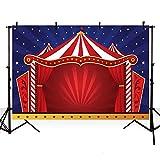 MEHOFOTO - Fondo para fotos con diseño de carpa de circo roja y cielo azul estrellado para fiesta...