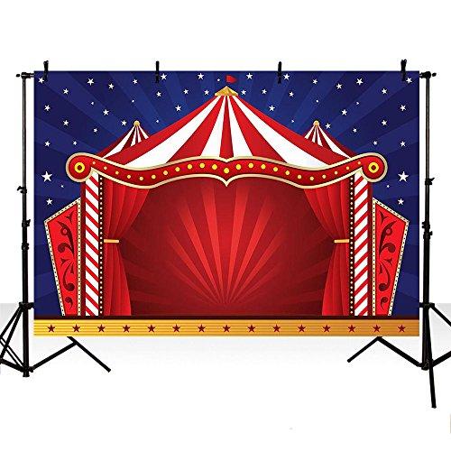MEHOFOTO - Fondo para fotos con diseño de carpa de circo roja y cielo azul estrellado para fiesta de cumpleaños para niños,1,5 x 2,2 m