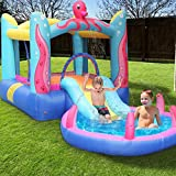 DDIGEjin Inflatable Bounce House, Jumping Castle Water Pool with Slide and Sprinkler,Including Oxford Carry Bag, Repairing Kit, Stakes, Water Hose, Ocean Balls (with 350W Air Blower)