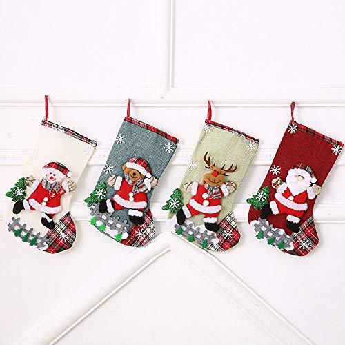 ysister 4 x Calze Natale Sacchetti di Natale per Le Caramelle, Babbo Natale Pupazzo di Neve e Elk Calze Natalizie da Appendere Candy Sacchetti Regalo per Albero di Natale Festa di Natale Decorazioni