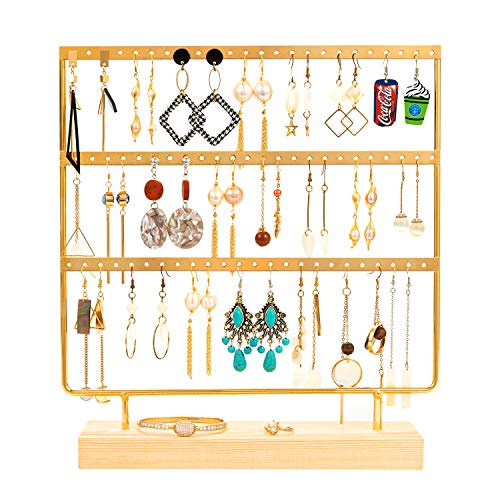 QILICHZ Gold Earring Holder 4-Tier Ear Stud Holder Earring Stand Display Rack Luxury Jewelry Stand Display Holder Hanger Rack Tower with Wooden Tray/Dish for Earrings Necklace Bracelet Rings 69 Holes