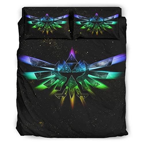 Hothotvery Juego de ropa de cama de 4 piezas con estampado de Zelda multicolor, 4 piezas, transpirable, ropa de cama de Navidad, edredón y fundas de almohada, color blanco, 175 x 218 cm