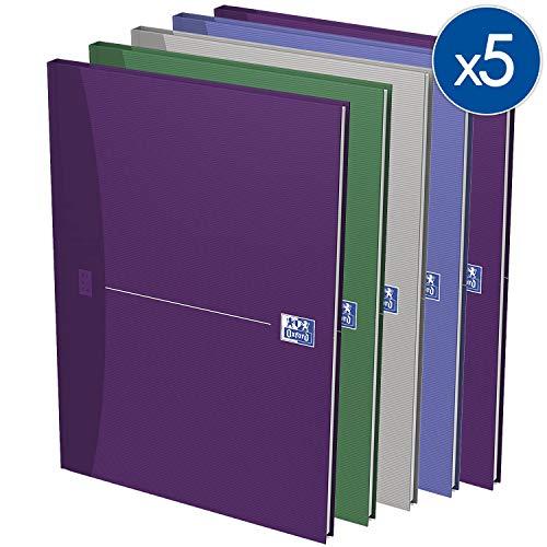 OXFORD 100100570 Gebundenes Buch Essentials 5er Pack A4 kariert 96 Blatt Geschäftsbuch Tagebuch Kladde Journal Skizzenbuch