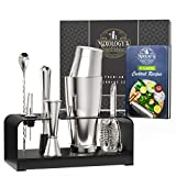 Mixology Bartender Kit with Free Recipe Book - Bar Set Includes Boston Shaker, Jigger, Hawthorne...
