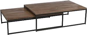 J-line - Set de 2 tables gigognes bois brut et métal noir