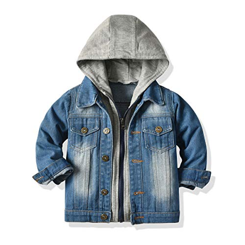 Baby Boys Girls Denim Jacket Kids Toddler Button Down Jeans Jacket Top Coat Outerwear (Hoodie-Grey, 12-18 Months)