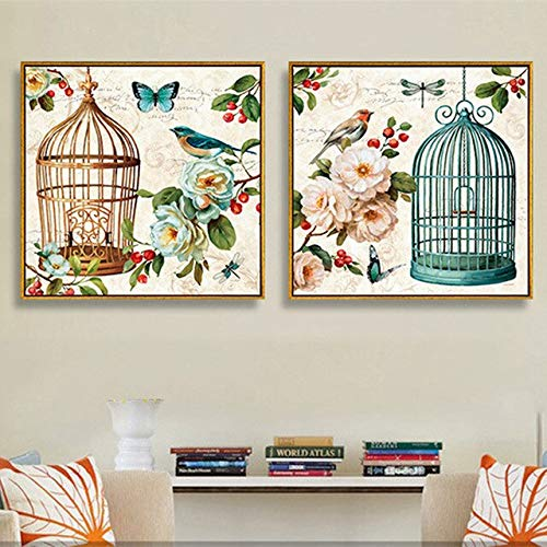 N / A Vintage Flowers and Birds American Country Oil Painting Canvas Cloth Living Room Decorative Painting Poster Frameless 40x40cm