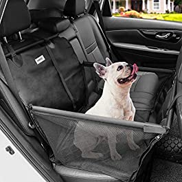 MATCC Dog Car Seat Covers Rear Seat Carrier Booster Protector for Dogs with Dog Seat Belt Waterproof Nonslip Dogs Accessories Basket Hammock with Storage Bag for Puppies & Medium Dogs Travel