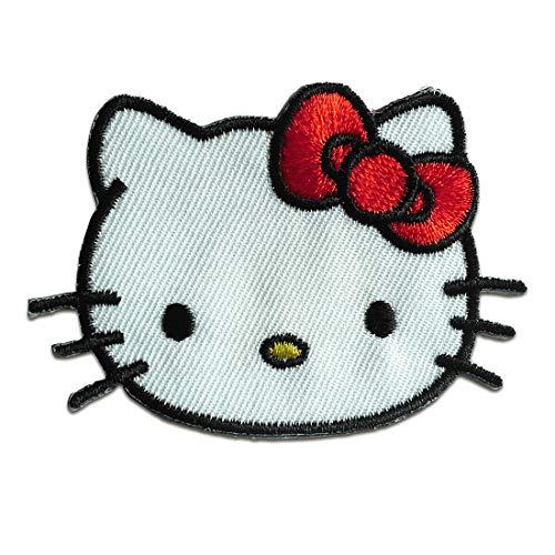 Aufnäher/Bügelbild - Hello Kitty Kopf Comic Kinder - weiß - 7x4,7cm - Patch Aufbügler Applikationen zum aufbügeln Applikation Patches Flicken