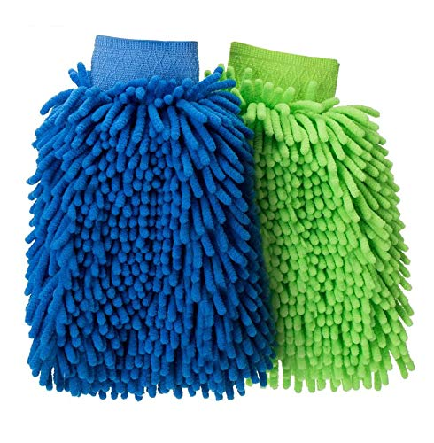 FMS Mikrofaser Auto Waschhandschuh Reinigung Handschuh Weich No Scratch Chenille Fingers für Motor Bus Truck 2 Stück