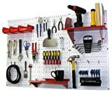 Pegboard Organizer Wall Control 4 ft. Metal Pegboard Standard Tool Storage Kit with White Toolboard and Red Accessories