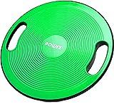 POWRX Balance Board con Maniglie Laterali (Ø 40 x 10 cm) - Tavoletta propriocettiva Ideale per Esercizi di Riabilitazione, Fisioterapia e Ginnastica - Superficie Antiscivolo + PDF Workout (Verde)