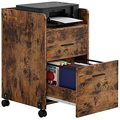 IRONCK Lateral Filing Cabinet Industrial Printer Stand on Wheels Home Office Cabinet with 2 Drawers, Mobile Vertical File Cabinet