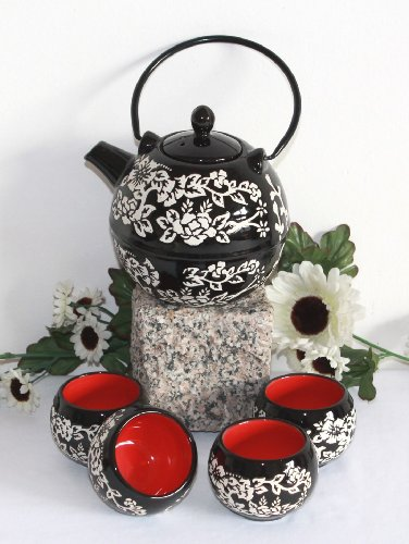 AAF Nommel ®, Asiatisches Teeset 065 Teeservice aus Keramik, Teekanne mit Tassen
