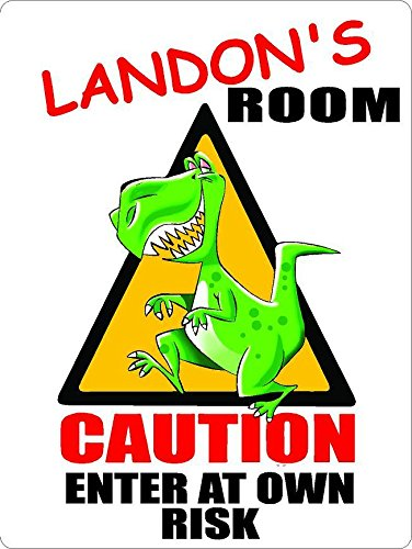"""ANY AND ALL GRAPHICS Landon Caution Enter Dinosaur Kids Room Door décor Sign 7""""X10"""" Plastic"""
