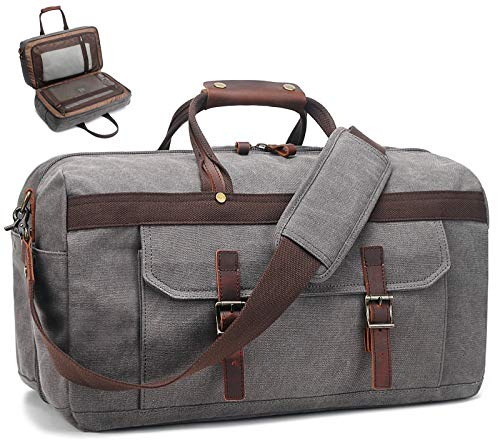 Duffle Bag for Men Waterproof Genuine Leather Canvas Travel Duffel Bags for Women Overnight Weekender Bag for Traveling, Grey