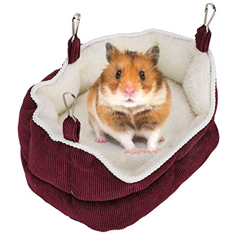 Eurobuy Small Animal Winter Warm Bed House, Hamster Warm Sofa Nest Detachable Washable Small Pet Cotton House Hanging Hammock for Gerbils, Baby Guinea Pig & Hamsters