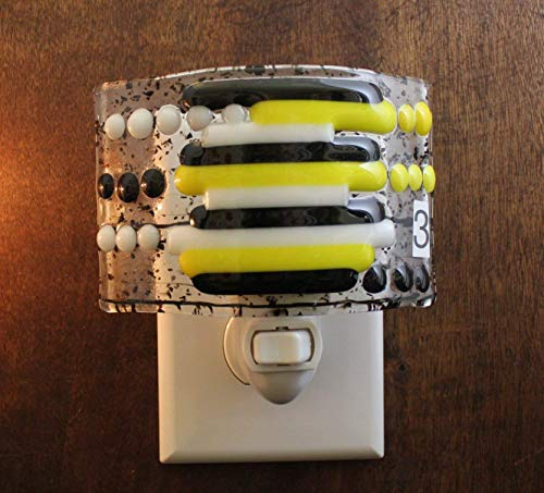 Black and Clear Night Light, Fused Glass Night Light, Multi-Color Night Light, Yellow Nightlight, Child's Night Light, Nightlight, Nightlite