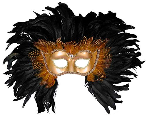 Forum Elaborate Feather Venetian Mask, Gold/Black, One Size