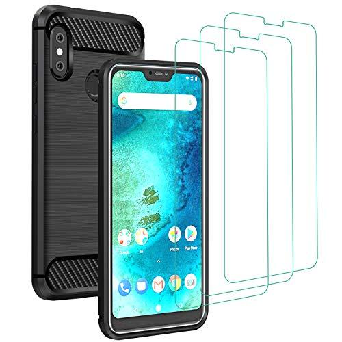 iVoler Cover per Xiaomi Mi A2 Lite + 3 Pezzi Pellicola Vetro Temperato, Fibra di Carbonio Custodia Protezione in Morbida Silicone TPU Anti-Graffio e Antiurto Protettiva Case - Nero