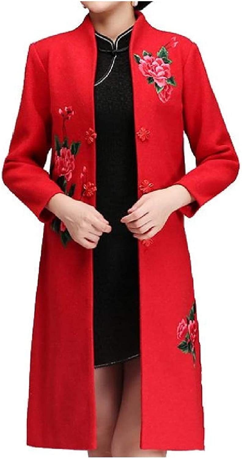 Vska Women's Stand up Collar Autumn Winter Embroidery Floral Trench Coat