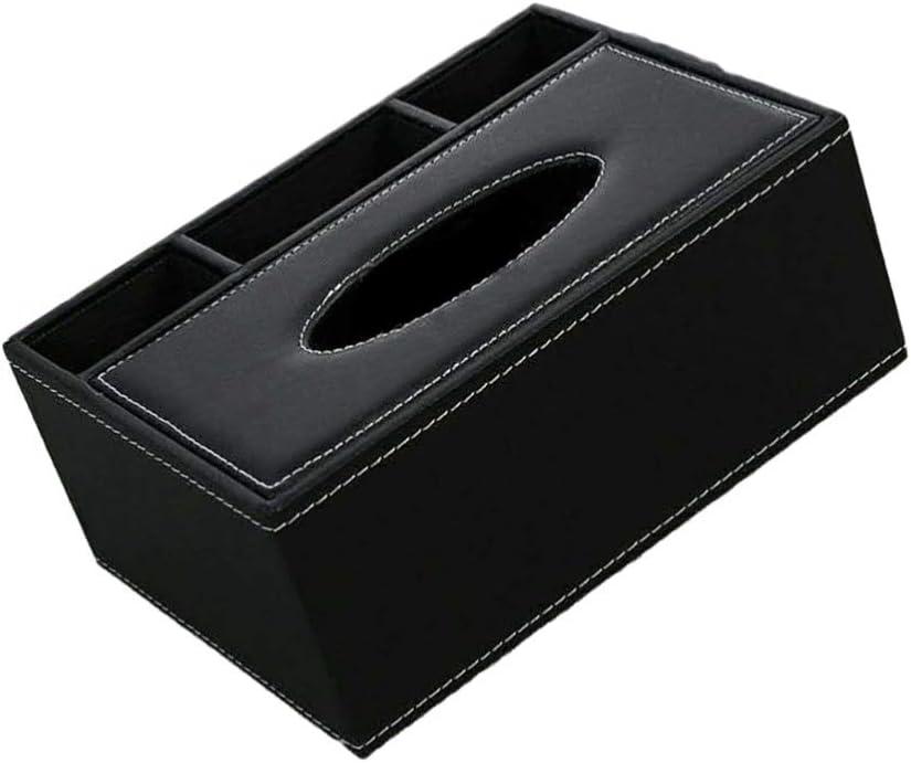 caja de pa/ñuelos de piel sint/ética organizador de escritorio Caja de pa/ñuelos de Heally multifuncional soporte para mando a distancia contenedor de tijeras dise/ño acolchado