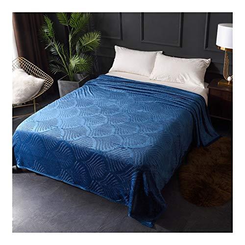 Bidema Franela Manta Oficina del acondicionador de Aire Cubierta de la Siesta Warm Colcha Manta portátil Throw Viaje Normal en Relieve Super Suave Manta (Color : Azul, Size : 150x200cm)