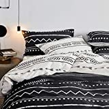 Bohemian Bedding Sets Twin Duvet Cover Set Black White 2 Pillowcases and 1 Duvet Cover (Twin Bed, Reversible Cartoon Arrow Herringbone Print)