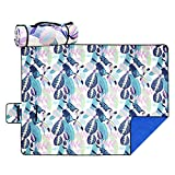 Picnic Blanket Tote Bag, Beach Mat Waterproof with Floral Prints, SandProof&MachineWashable Outdoor Blankets