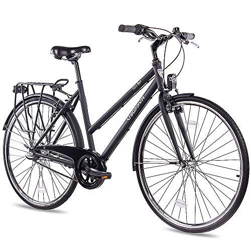 CHRISSON 28 Zoll Citybike Damen - City One schwarz 50 cm - Damenfahrrad mit 3 Gang Shimano Nexus Nabenschaltung - praktisches Cityfahrrad für Frauen