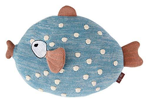 OyOy Mini Little Finn Cushion Stofftier Fisch - Süßes Baby Kinder Kissen Kuschelkissen und Schmusekissen Blau - Baumwolle 23 x 30 x 10 cm