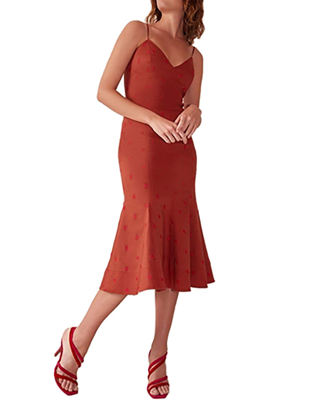 Available at Amazon: C/Meo Collective Women's Harmonious Embroidered Sleeveless V Neck Fitted Midi Dress