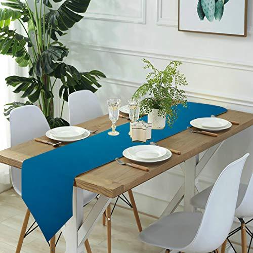 Jack16 Camino de mesa subacuático azul océano mar buceo lino, casa de granja, fiesta, decoración de vacaciones, decoración para cocina, comedor, café, 33 x 70 pulgadas