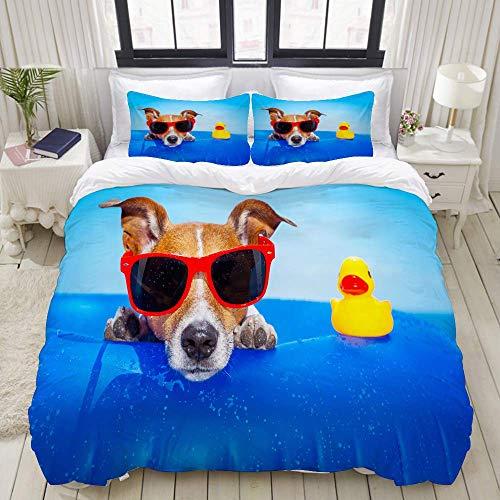 SmallNizi Funda nórdica, Jack Russell Dog en un colchón en The Ocean Water en The Beach Summer con Gafas de Sol Rojas, Juego de Cama Juegos de Fundas de Colcha de poliéster de Lujo Ultra cómodas